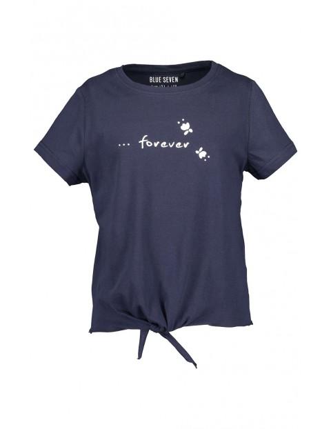Koszulka dziewczęca granatowa z napisem i dekoracyjnym wiązaniem