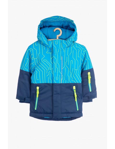 Kurtka narciarska dla chłopca- niebiesko-granatowa