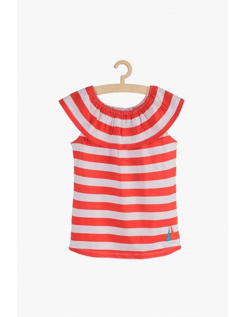 Bawełniany t-shirt w biało-czerwone paski