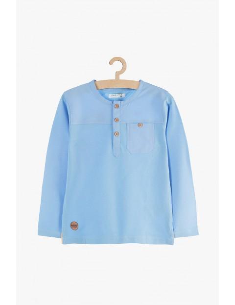 Bluzka z długim rękawem- niebieska z ozdobnymi guzikami