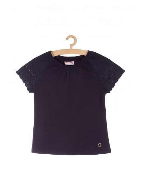 Granatowy t-shirt dla dziewczynki ozdobne rękawy