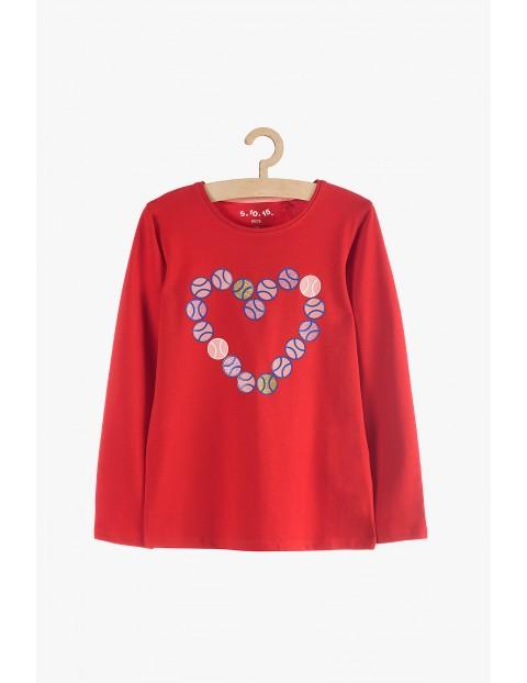 Bluzka dziewczęca z długim rękawem- czerwona z sercem