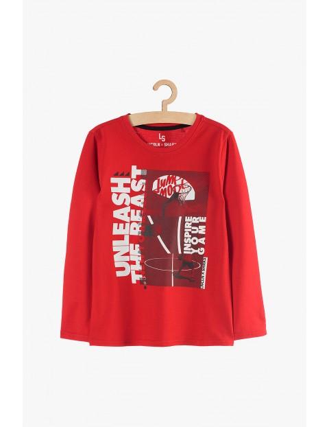 Bawełniana bluzka chłopięca z długim rękawem czerwona