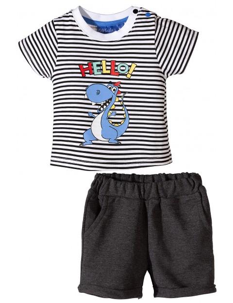 Komplet niemowlęcy szorty i t-shirt w paski