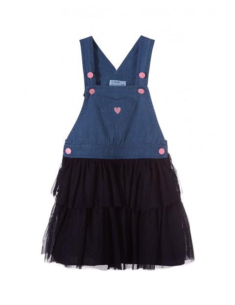 Jeansowa sukienka dla dziewczynki z tiulową falbanką