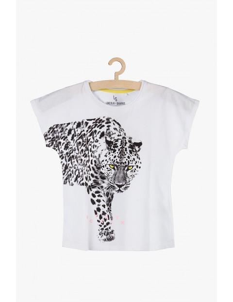 T-shirt dziewczęcy biały z jaguarem