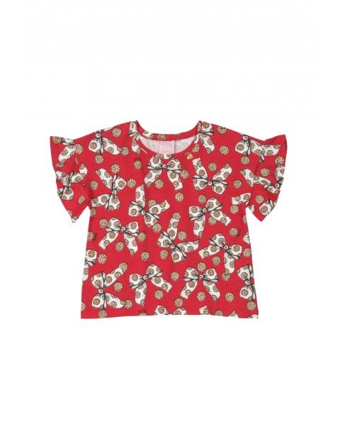 Koszulka dziewczęca czerwona z kokardkami