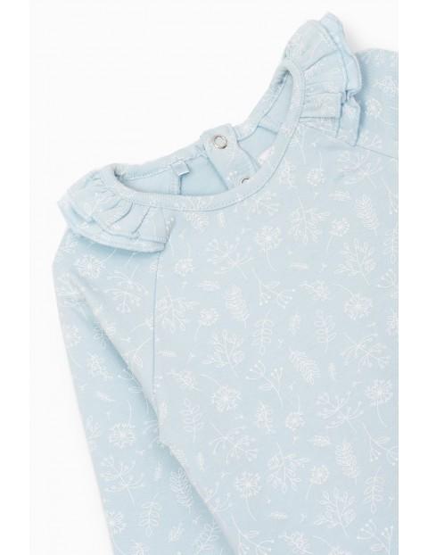 Body dziewczęce w kwiatki - niebieskie z długim rękawem