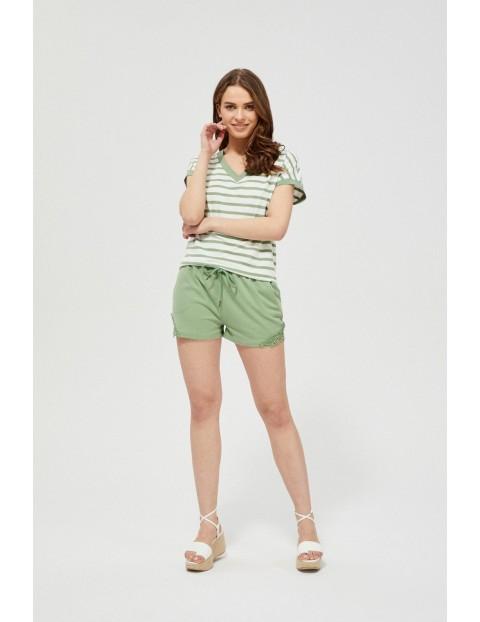 Dresowe szorty z krótkimi nogawkami z koronką oliwkowe