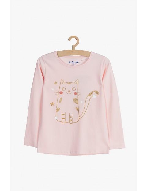 Różowa bawełniana bluzka z brokatowym kotkiem