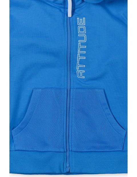 Niebieska bluza dresowa z kapturem