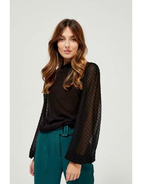 Sweter damski czarny z bufiastymi rękawami