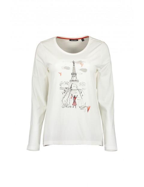 Dzianinowa koszulka damska - biała