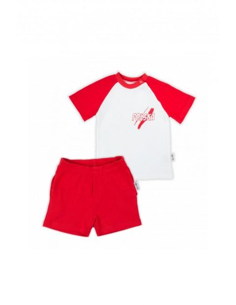 Bawełniany komplet Strefa Kibica - bluzka + spodenki - biało - czerwony