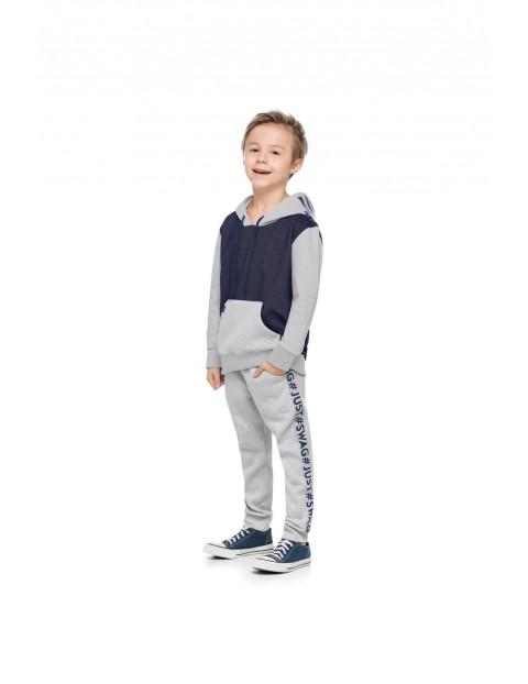 Komplet chłopięcy szary bluza i spodnie