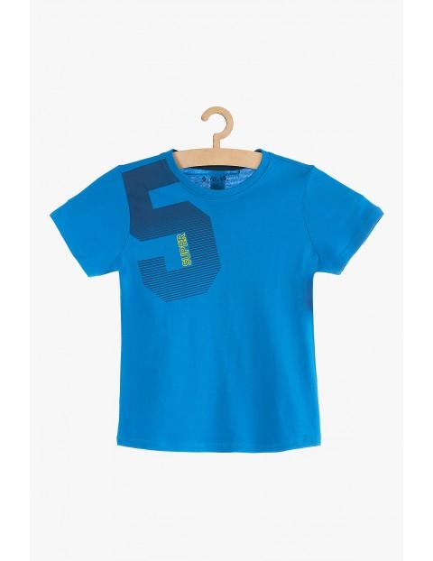 T-Shirt chłopięcy niebieski z nadrukiem