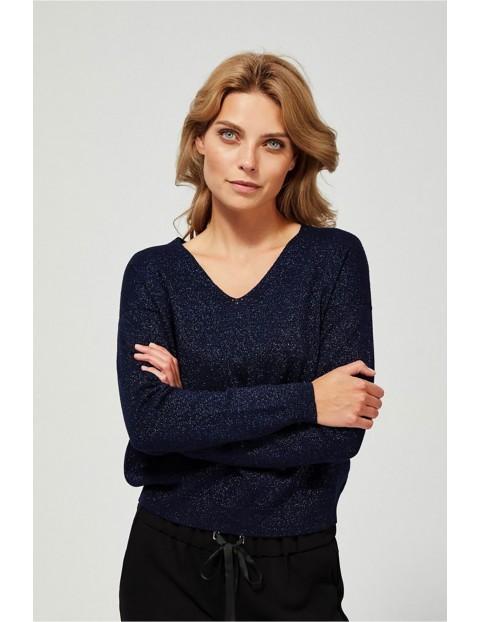 Sweter damski z dekoltem w serek - granatowy