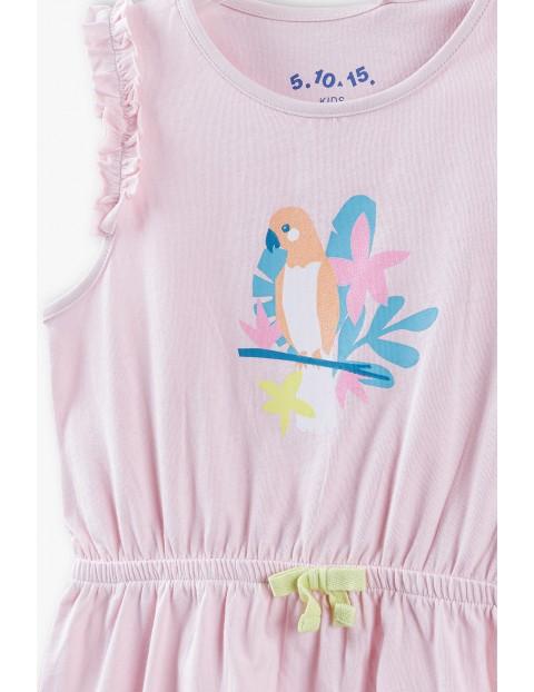 Sukienka dzianinowa na lato- różowa z papugą