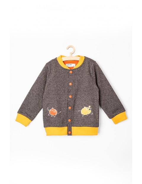 Bluza rozpinana niemowlęca szara z kontrastowymi wstawkami