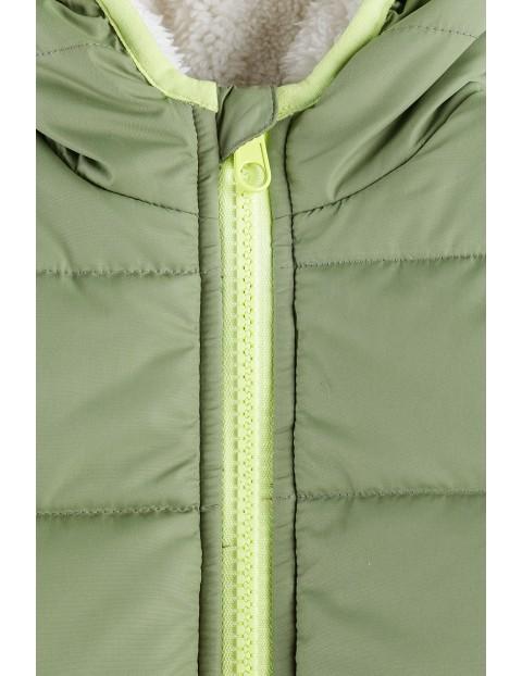 Kurtka niemowlęca z liskiem zielona-pikowana
