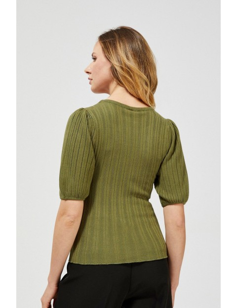 Sweter damski w prążki- oliwkowy