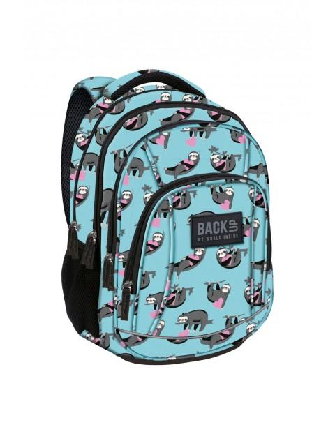 Plecak szkolny dla dziewczynki- niebieski w leniwce