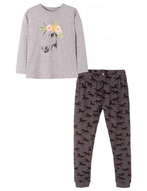 Piżama dla dziewczynki szary melange- konie