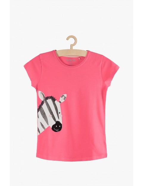 Różowy t-shirt z zebrą