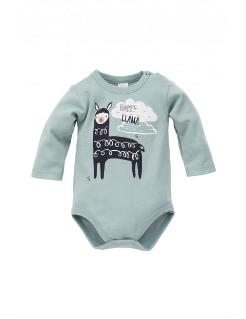 Body dla niemowlaka w lamy- niebieskie z długim rękawem