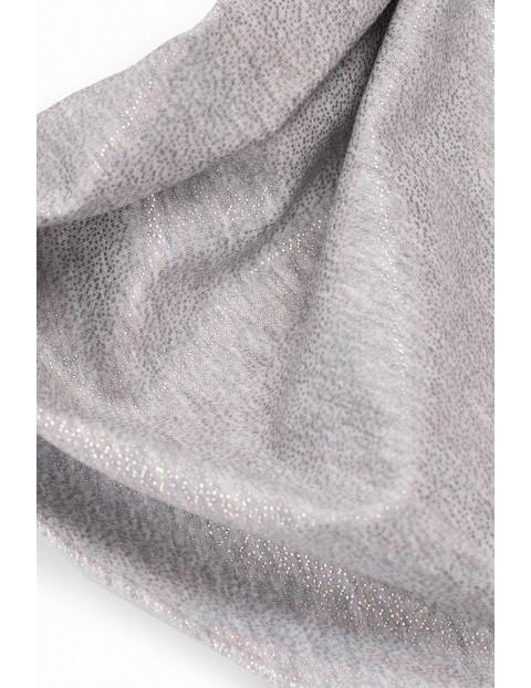 Chusta dzianinowa dziewczęca - szara ze srebrnym nadrukiem