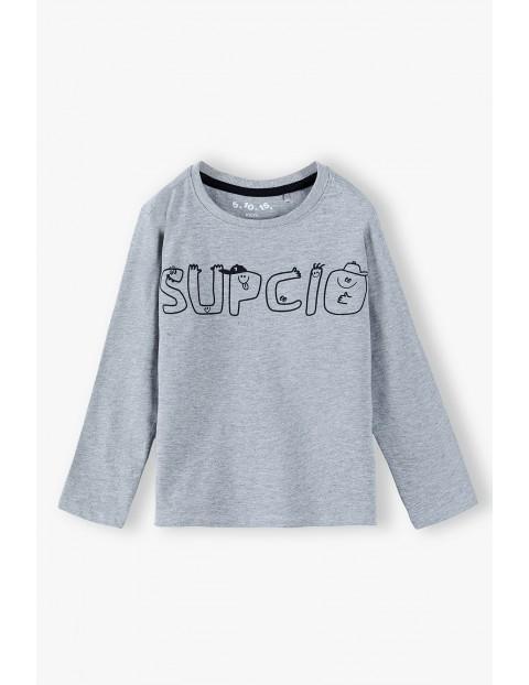 Bluzka chłopięca szara z napisem- Supcio