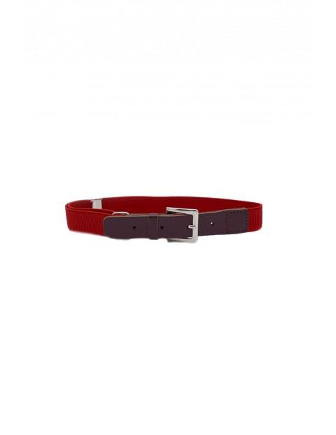 Pasek chłopięcy do spodni- czerwony z klamerką 60cm