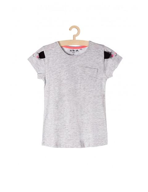 T-shirt dla dziewczynki-szary z kieszonką i uszami na rękawach