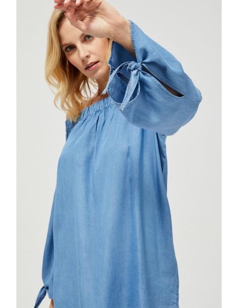 Koszula damska typu hiszpanka z lyocellu niebieska