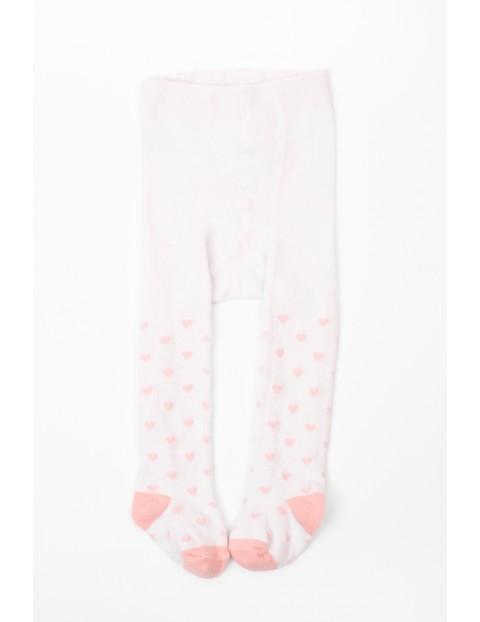 Rajstopy niemowlęce białe w różowe serca