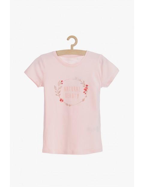 Różowy t-shirt dla dziewczynki- Natural Beauty