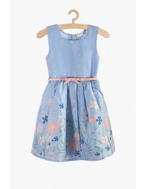 Sukienka dziewczęca niebieska w kwiaty