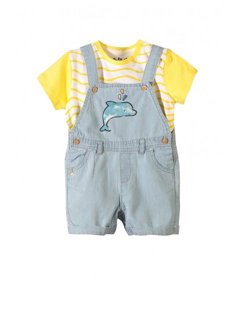 Komplet niemowlęcy- spodnie ogrodniczki i t-shirt