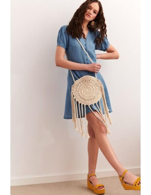 Niebieska sukienka damska z krótkim rękawem 100% Lyocell