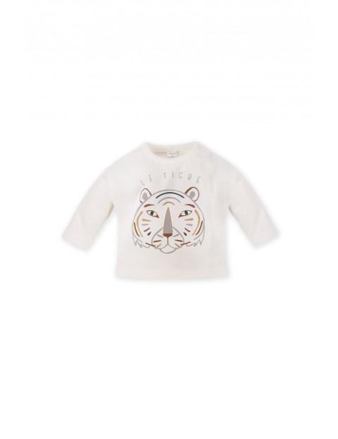 Bawełniana bluzka z długim rękawem tygrysem - beżowa