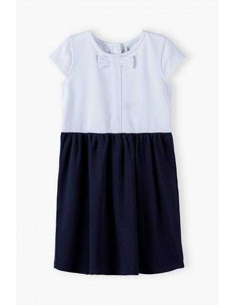 Sukienka granatowo - biała z krótkim rękawem