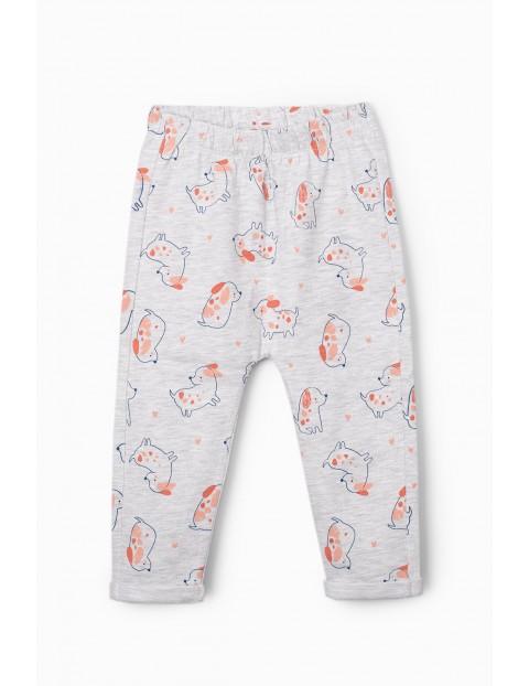Spodnie dresowe dla niemowlaka szare z pieskami