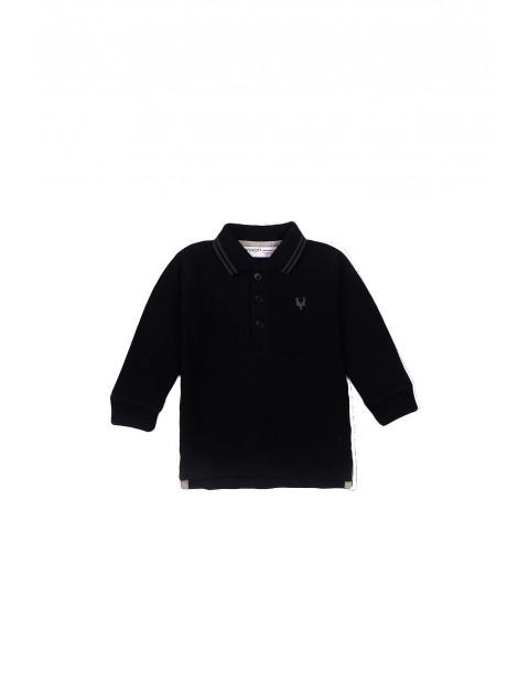 Bluzka niemowlęca bawełniana z kołnierzykiem czarna