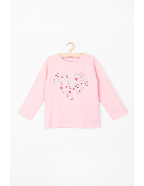 Bluzka dziecięca z długim rękawem różowa, z nadrukiem serca