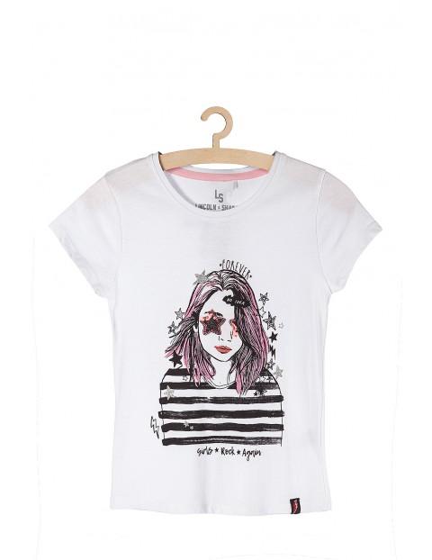 T-shirt dla dziewczynki biały z nadrukami