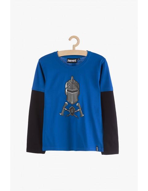Bluzka chłopięca Fortnite niebiesko-czarna- 100% bawełna