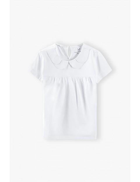 Bluzka dziewczęca z kołnierzykiem - biała