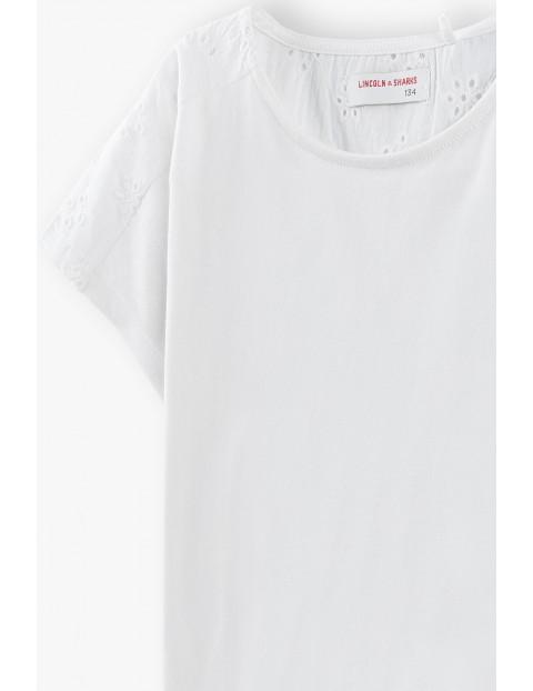 T-shirt dziewczęcy  - biały z ażurową górą i rękawkami
