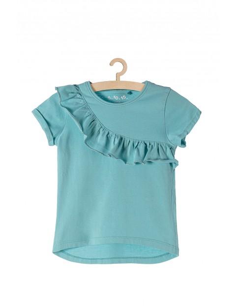 T- shirt dziewczęcy z ozdobną falbanką