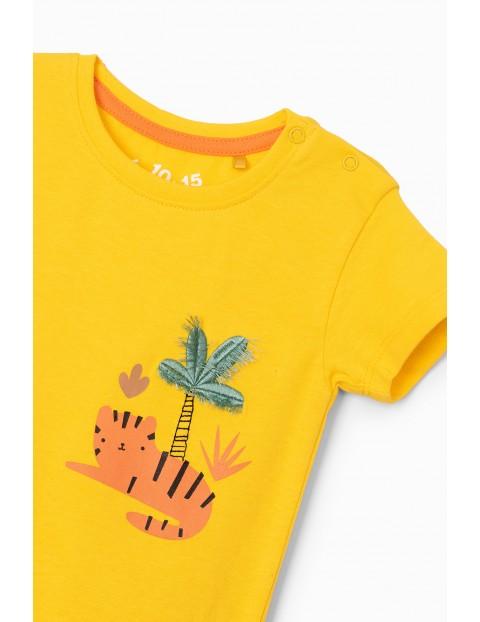 Żółte body niemowlęce z nadrukiem